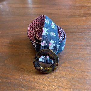Vera Bradley Fabric Elephant Print Belt Black/Pink